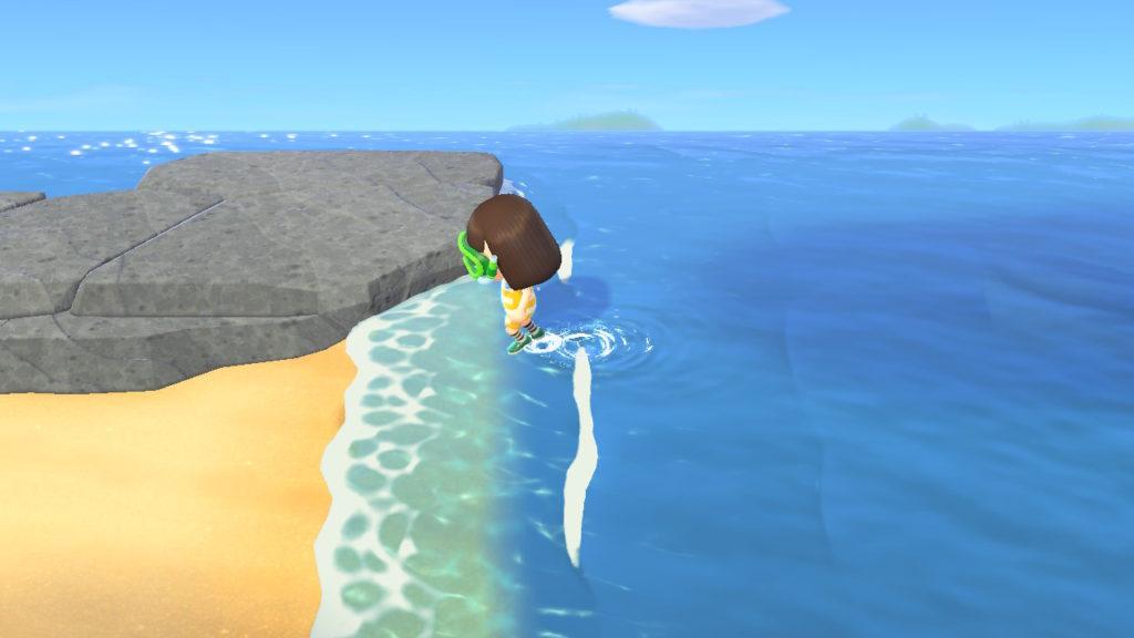 海から上がるときは砂浜から