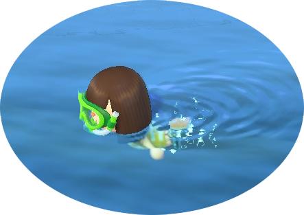 泳ぐキャラクター