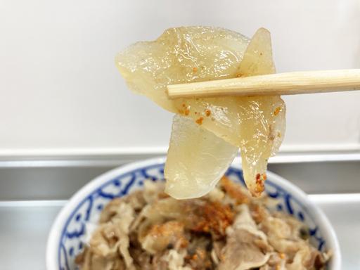 すき家冷凍牛丼の具たまねぎ品質
