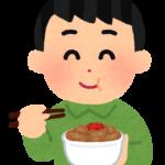 牛丼を食べる男性