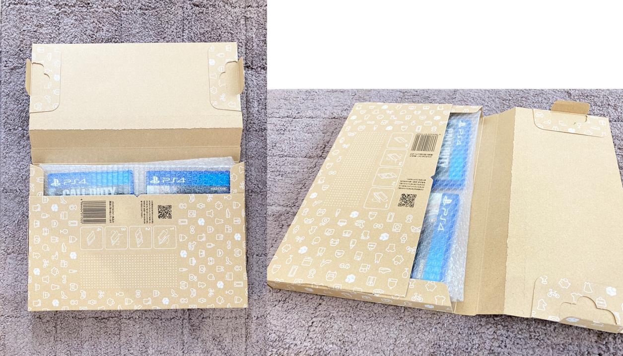【梱包資材】公式メルカリ資材キットを買ってみた!ゆうパケット専用段ボールPS4ソフト2枚入ります